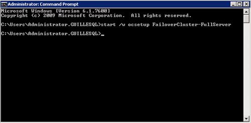 Sin embargo, en nuestro caso, se trata de una edición Full, por lo cual, deberemos ejecutar Start /w ocsetup FailoverCluster-FullServer