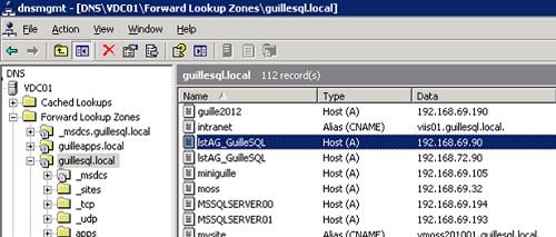 Si comprobamos el DNS, podremos ver que existen dos recursos de tipo A para el mismo nombre. Recordemos además que por defecto Round Robin está habilitado