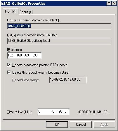 Si editamos cualquiera de estos Recursos A en DNS podremos ver que el TTL está configurado para un tiempo de 20 minutos