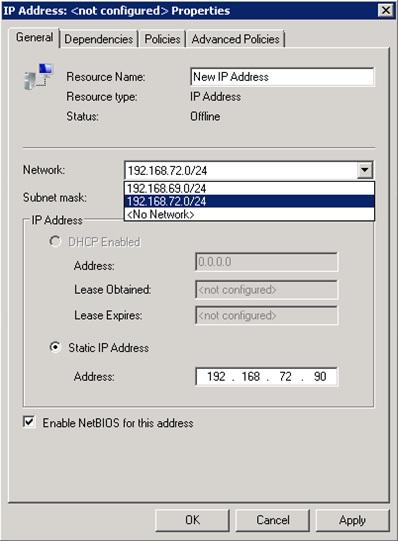 En el diálogo de configuración del nuevo Recurso de tipo IP Address, deberemos al menos asignar un nombre al Recurso, especificar la Red, y especificar la dirección IP