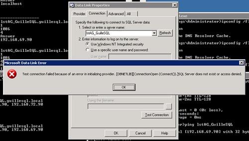 Igualmente, hemos creado un fichero UDL, para conectarse a SQL Server, pero hemos detectado que siempre se intentaba conectar a la misma IP (como si estuviese activado el Netmask Ordering), por lo que ante un balanceo del Cluster, la conectividad con SQL Server dejaría de funcionar