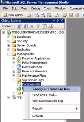 Es posible configurar Database Mail por comandos o con la interfaz gráfica (SSMS). En nuestro caso de ejemplo, vamos a realizar desde cero la configuración de Database Mail en un Cluster de SQL Server 2008 R2 utilizando SQL Server Management Studio (SSMS). Para empezar, utilizaremos la opción Configure Database Mail desde el menú contextual de Database Mail, como se muestra en la siguiente pantalla capturada