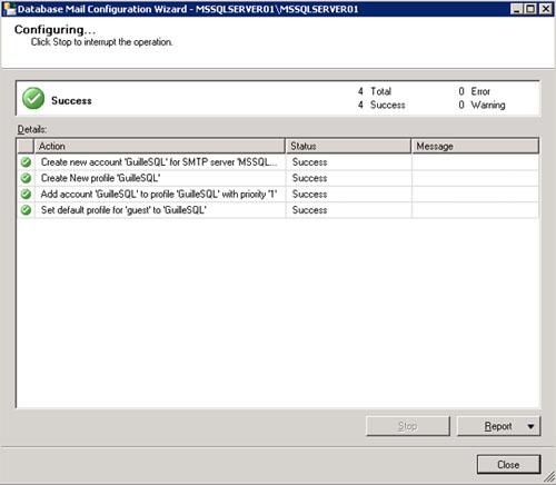 En unos instantes la configuración de Database Mail habrá finalizado satisfactoriamente en nuestro Cluster de SQL Server 2008 R2. Click Close.