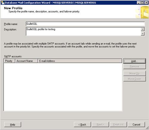 En la pantalla New Profile, crearemos un nuevo perfil de Database Mail especificando un nombre y descripción. Seguidamente, click Add para añadir una cuenta de correo al perfil que estamos creando. Téngase en cuenta, que podemos crear múltiples cuentas de correo, y ordenarlas según deseemos que sean utilizadas. De este modo, si se produce un error al enviar un correo electrónico utilizando una cuenta, se podrá intentar automáticamente utilizando la siguiente cuenta de la lista.