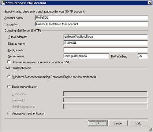 En la pantalla New Database Mail Account configuraremos una cuenta de correo electrónico para ser utilizada por Database Mail. En resumidas cuentas, se trata de indicar la cuenta de correo electrónico, el servidor SMTP, y la configuración de autenticación del servidor SMTP. Click OK para continuar.