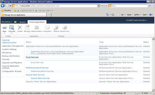 Realizado esto, la aplicación de servicio para Excel Services habrá sido creada con éxito. Existen bastantes más configuraciones que podríamos realizar, las cuales quedan fuera del alcance del presente artículo. A modo de ejemplo, en la pantalla Service Applications, podemos hacer click sobre la Aplicación de Servicio de Excel Services.