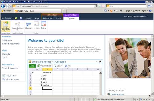 Una vez que hemos añadido la Web Part de Excel Web Access a nuestra Página Web, podemos configurar sus propiedades, especificando que Libro Excel deseamos visualizar, obteniendo un resultado algo similar al que se muestra en la siguiente pantalla capturada.
