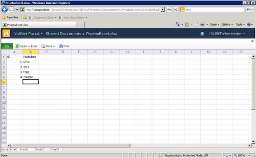 De este modo, deberemos poder ver (en modo sólo lectura) dicho documento Excel como si fuese una página Web, como se puede apreciar en la siguiente pantalla capturada, sin necesidad de tener instalado en local Microsoft Office, y sin necesidad de ejecutar ni Windows ni Internet Explorer.