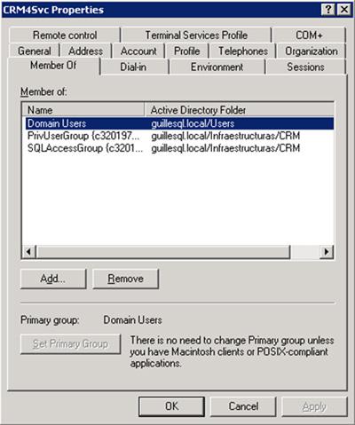 A nivel de Directorio Activo, deberemos abrir la consola de Active Directory Users and Computers (ADUC) que encontraremos por defecto instalada en cualquier Controlador de Dominio, editar la cuenta de usuario de Directorio Activo utilizada como identidad del Pool de Aplicaciones de CRM (en nuestro caso, la cuenta GUILLESQL\CRM4Svc), y hacer a esta cuenta miembro de los grupos PrivUserGroup y SQLAccessGroup de la correspondiente instalación de Microsoft Dynamics CRM