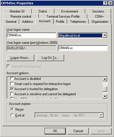 Habilitar la Delegación de Kerberos en la cuenta de usuario utilizada en el Application Pool del IIS (en nuestro caso, la cuenta GUILLESQL\CRM4Svc), opción Account is trusted for delegation