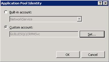 Se mostrará el diálogo Application Pool Identity, en el cual, deberemos seleccionar la opción Custom account, y utilizar el botón Set para especificar las credenciales de la cuenta de Directorio Activo desea para ejecutar el Pool de Aplicaciones de Microsoft CRM. Click OK, y seguidamente click OK en el diálogo Advanced Settings