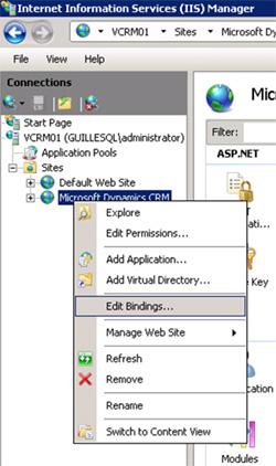 Abriremos la herramienta administrativa de IIS Manager, desplegaremos hasta mostrar el Sitio Web de Microsoft CRM, y seleccionaremos la opción Edit Bindings del menú contextual