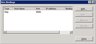 En el diálogo Site Bindings, click en el botón Add para añadir un nuevo Binding