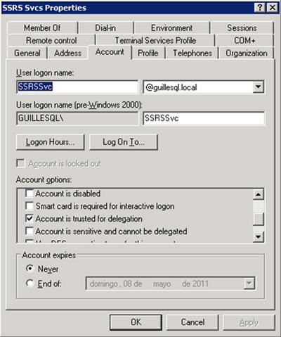 Habilitar la Delegación de Kerberos en la cuenta de usuario utilizada por Reporting Services 2008 R2 (en nuestro caso, la cuenta GUILLESQL\SSRSSvc), opción Account is trusted for delegation
