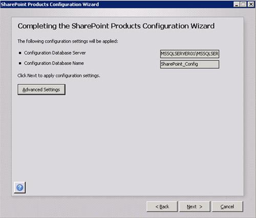 En la pantalla Completing the SharePoint Products Configuration Wizard, haremos click en el botón Advanced Settings, para poder configurar este servidor MOSS con la consola de administración central de MOSS. Téngase en cuenta, que si estuviésemos montando un servidor de aplicaciones (que no actúe como Frontal Web), no sería necesario montar esta consola, es decir, lo habitual es montar esta consola sólo sobre los Frontales Web de MOSS (al menos, es mi costumbre).