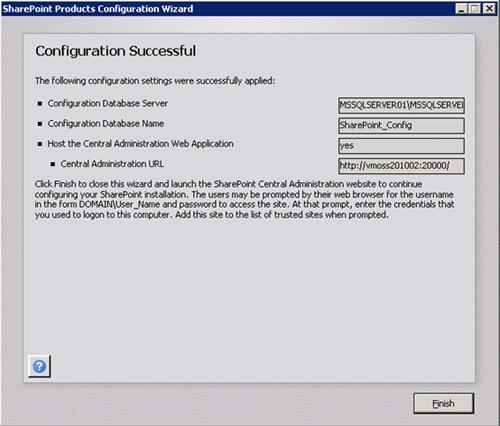 Finalmente, el servidor MOSS habrá sido añadido satisfactoriamente a la Granja MOSS 2010. Click Finish.