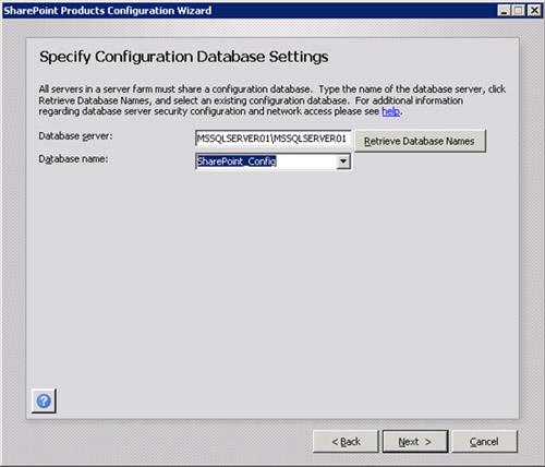 En la pantalla Specify Configuration Database Settings, especificaremos la instancia de SQL Server que hospeda la base de datos de configuración de la Granja MOSS, así como también especificaremos el nombre de la base de datos de configuración de la Granja. Click Next para continuar.