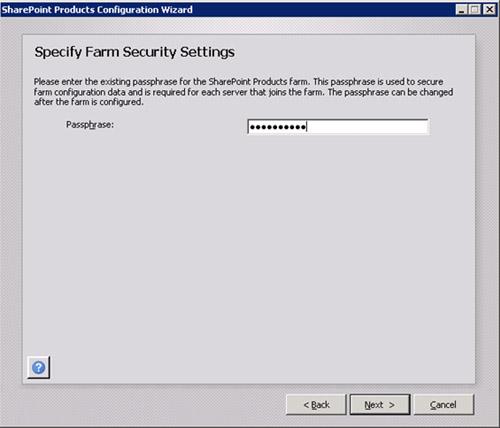 En la pantalla Specify Farm Security Settings, deberemos especificar la PassPhrase de la Granja MOSS para poder añadir este nuevo servidor MOSS a la Granja. Click Next para continuar.