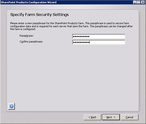 En la pantalla Specify Farm Security Settings, deberemos especificar una PassPhrase para nuestra Granja de MOSS, una especie de contraseña que necesitaremos recordar para posteriores configuraciones de nuestra Granja de MOSS 2010, como es el caso de agregar nuevos servidores a nuestra Granja de MOSS. Click Next paracontinuar.