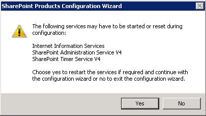 Se mostrará un diálogo indicando que varios servicios podrán ser iniciados o reseteados durante la configuración que vamos a realizar. Click Next para continuar
