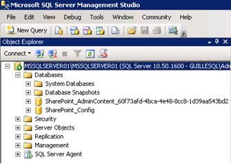 Llegados a este momento, si lo deseamos, podemos curiosear un poco para ver qué cosas han aparecido en nuestra infraestructura tras la creación de nuestra Granja de MOSS 2010. Por ejemplo, podremos comprobar que disponemos de dos bases de datos SQL Server, la propia base de datos de configuración de la Granja de MOSS 2010, así como la base de datos de contenido de la aplicación web que actúa como consola de administración de MOSS 2010.