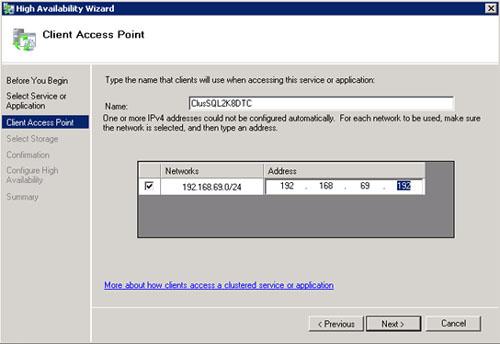 En la pantalla Client Access Point, especificaremos el Nombre y la Dirección IP que deseamos utilizar para la nueva Aplicación o Grupo de Recursos destinado para el MS DTC. Click Next para continuar.