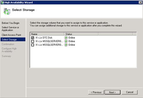 En la pantalla Select Storage seleccionaremos el disco que deseamos utilizar por el MS DTC. Click Next para continuar.