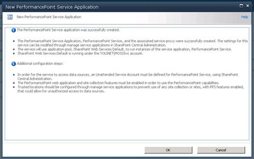 Realizado esto, el PerformancePoint Service habrá sido creado con éxito. Click OK para continuar.