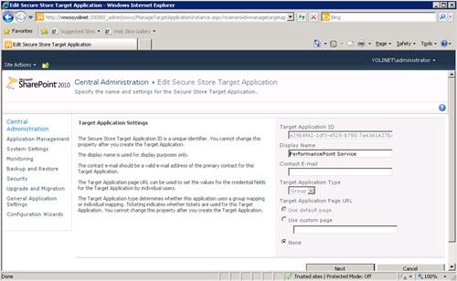 Se mostrará la pantalla Target Application Settings, en la cual podemos ver el detalle de su configuración