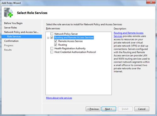 En la pantalla Select Role Services, seleccionaremos los componentes de Routing and Remote Access Services (RRAS), como se muestra en la siguiente pantalla capturada. Click Next para continuar.
