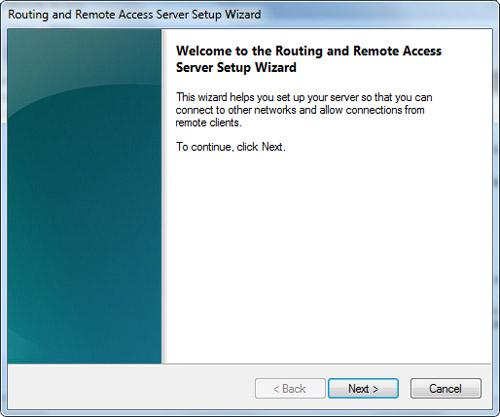 En la pantalla de bienvenida del asistente de configuración de RRAS, click Next.