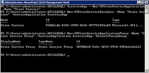 A continuación se muestra una ejecución de ejemplo de estos comandos (New-SPStateServiceApplication, New-SPStateServiceDatabase, New-SPStateServiceApplicationProxy) desde la SharePoint 2010 Management Shell, realizada sobre una Granja con tres servidores MOSS (dos frontales y un servidor de aplicaciones).