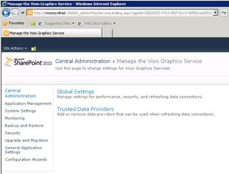 Llegaremos a la pantalla Manage the Visio Graphics Service, a través de la cual podemos obtener acceso a diferentes y variopintas configuraciones de Visio Services.