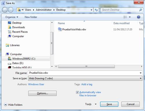 Debemos recordar que los ficheros Visio que podremos ver en formato Web, son aquellos que guardemos en formato Visio Web Drawing (vdw), por lo tanto, los ficheros Visio tradicionales (vsd) deberemos guardarlos en formato Web, utilizando la opción Save As del propio Microsoft Visio.