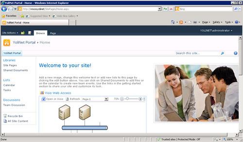 De este modo, utilizando la Web Part de Visio Web Access, podremos embeber un fichero Visio dentro de una Página Web, tal y como se muestra en la siguiente pantalla capturada.