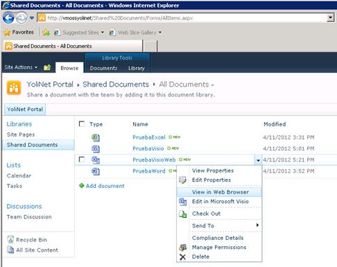 Sin embargo, para un fichero Visio guardado en formato Web Drawing (vdw), si aparecerá la opción para visualizar en el navegador (View in Web Browser).