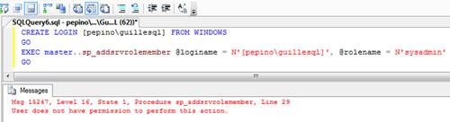 Tenemos una Instancia de SQL Express 2008 perteneciente a una instalación de SharePoint Foundation 2010 en modo StandAlone, a la cual necesitamos poder conectarnos como SysAdmin. Desde SQL Server Management Studio (SSMS) nos conectamos con éxito, e incluso conseguimos crear un Login, sin embargo al intentar hacerlo miembro de SysAdmin (utilizando el sp_addsrvrolemember), obtenemos un mensaje de error por falta de permisos: User does not have permission to perform this action.