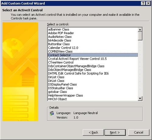 En el diálogo Add Custom Control Wizard, en la pantalla Select an ActiveX Control, seleccionaremos la opción Contact Selector. Click Next.