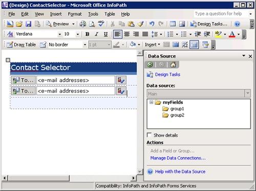 En el siguiente ejemplo vamos a agregar dos controles Contact Selector a un Formulario InfoPath 2007. Para empezar, vamos a arrastrarlos a nuestro Formulario InfoPath, lo cual nos creará dos Grupos vacíos en nuestro Origen de Datos Principal, con los que enlazará dichos controles.