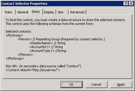 Si mostramos las propiedades de un Control Contact Selector, en la pestaña Items podremos obtener un poco de información de ayuda, cara a la configuración que tenemos que realizar en nuestro Origen de Datos Principal.