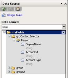 Así que, crearemos un grupo que llamaremos grpContactSelector, por debajo del cual, crearemos la estructura de datos que hemos comentado, tal y como se muestra en la siguiente pantalla capturada (ojo con las mayúsculas, minúsculas y demás detalles).