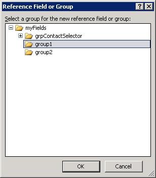 En el diálogo Reference Field or Group, seleccionaremos el Grupo correspondiente al primero de nuestros controles Contact Selector.