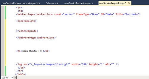 Seguidamente eliminaremos el contenido del nodo ZoneTemplate (sin eliminar dicho nodo) e incluiremos el código HTML personalizado tras la WebPartZone.