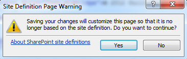 En estos momentos, nuestra Página Maestra ya está configurada para mostrar un Pié de Página (Footer) utilizando una Hoja de Estilos CSS personalizada. Guardaremos los cambios, tanto de nuestra Hoja de Estilos como de nuestra Página Maestra, tras lo cual nos aparecerá una ventana de diálogo como la siguiente (Site Definition Page Warning). Click Yes para continuar
