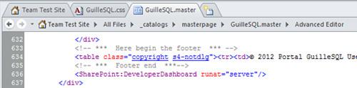 Si deseamos ocultar el Pié de Página (Footer) de las ventanas de diálogo de SharePoint 2010, podemos añadir el estilo s4-notdlg, tal y como se muestra en la siguiente pantalla capturada