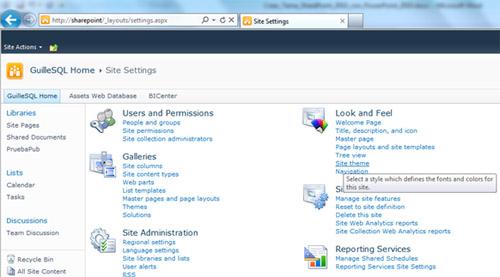 Realizado esto, ya estará disponible el nuevo Tema en nuestro Site de SharePoint 2010, por lo que volveremos a la pantalla de Site Settings, y seleccionaremos la opción Site Theme de la sección Look and Feel