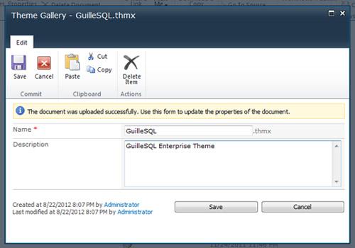 En el diálogo Theme Gallery podremos especificar una descripción para nuestro Tema, y seguidamente click en Save