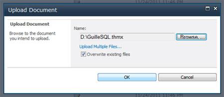 En el diálogo Upload Document, seleccionaremos el fichero thmx de nuestro tema, y seguidamente, click OK para continuar
