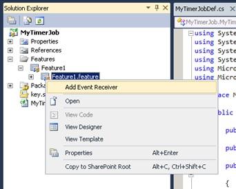 Añadiremos una Característica (Feature) a nuestro Proyecto, sobre la que añadiremos un Event Receiver