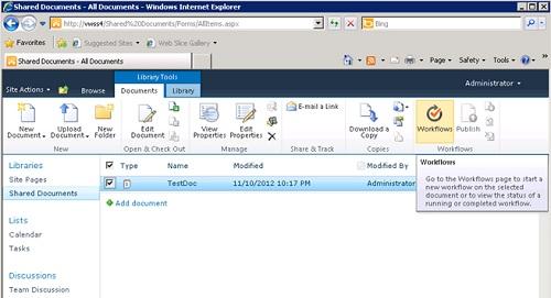 Realizado esto, seleccionaremos un documento de la Librería (Item), y click en el botón Workflows de la botonera (Ribbon).